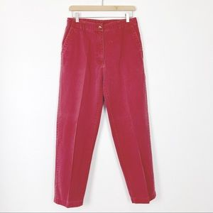 Vintage high rise red pants khakis LL Bean faded
